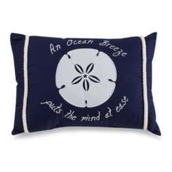 """C & F Enterprises, Inc. - Ocean Breeze Oblong Toss Pillow - This rectangular pillow in a nautical blue with white nautical rope accents features a sand dollar and the words """"An ocean breeze puts the mind at ease."""" Coordinates with the Nantucket Dreams quilt."""
