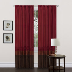 Lush Decor - Mia Brown/Red Pieced 84 inch Curtain Panel Pair - This colorful faux silk window panel transforms and brightens the room. A series of four pleats gives the panel a clean and very finished look and a rod pocket provides quick and easy installation.