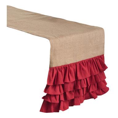 Saro - Ruffled Burlap Table Runner, Red - Ruffled Burlap Table Runner, Red