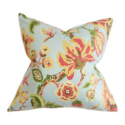 The Pillow Collection - Chaya Light Blue 18 x 18 Floral Throw Pillow - - Pillows have hidden zippers for easy removal and cleaning  - Reversible pillow with same fabric on both sides  - Comes standard with a 5/95 feather blend pillow insert  - All four sides have a clean knife-edge finish  - Pillow insert is 19 x 19 to ensure a tight and generous fit  - Cover and insert made in the USA  - Spot clean and Dry cleaning recommended  - Fill Material: 5/95 down feather blend The Pillow Collection - P18-D-CEVENDISH-LIGHTBLUE-C95L