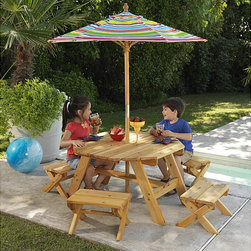 KidKraft - Octagon Table & 4 Benches with Multi-striped Umbrella Children's Patio Furniture - Kids will love sitting at this children's patio furniture set. Sized just for smaller bodies,the set includes a table and four benches constructed of weather-resistant wood. A playfully striped umbrella provides shade from direct sunlight.