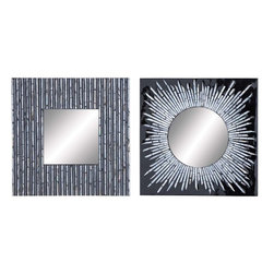 Benzara - Mirror Assorted with Lacquered Finish - Set of 2 - This set of mirrors is high on utility as well as a stylish addition to your room. The set consists of two dazzling mirrors framed in high quality wood that comes with the endurance to last for a long time. The wood surface is finished with lacquer that adds good sheen and visual appeal to the overall piece. Made from high quality glass, it produces crystal clear images and reflections without blurs. The mirrors can be placed conveniently on the dressing table, hung on the wall and used with utmost efficiency. You can easily wipe and clean the mirror easily with a cloth and avoid dust and scratches. The perfect finish combined with attractive features enhances the aesthetic appeal and make this mirror a worthy possession.