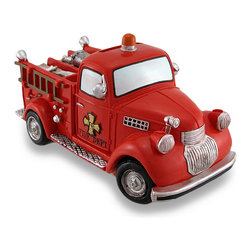 Zeckos - Bright Red Fire Truck Coin Bank Vintage Style Fire Engine Piggy Bank - This vintage style fire truck coin bank is not only a must-have addition to the homes of fire engine enthusiasts, it's also a fun accent in children's rooms that helps to encourage a healthy saving habit It's made from cold cast resin with a hand-painted characteristic bright red finish There is a coin slot in the top of the cab, and it easily empties via a twist-off plug in the bottom. Though it's not quite as large as its life-size cousin, this 7 inch (18 cm) long, 4 inch (10 cm) high, 3.5 inch (9 cm) wide fire truck bank will save quite a load (of coins) It's a great gift for any fire rescue fans both young, and young at heart sure to be loved