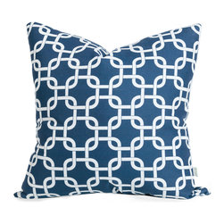Majestic Home - Outdoor Navy Blue Links Large Pillow - Style and comfort are just as important for casual spaces like the patio or den as they are anywhere else, so you need a throw pillow that's made to take the slings and arrows of everyday life. This pillow's cute printed cover is treated to withstand the elements and removable for easy cleaning of spills and smudges. It'll add some color and cushiness to your family parties and still look fresh the morning after.