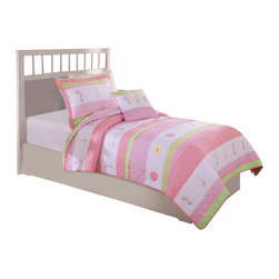 Pem America - Tara Stripe Twin Quilt with Pillow Sham - Fresh stripes in pink and white with rows of embroidered flowers with satin highlights.  Using a standard horizontal stripe pattern as the base, Tara's Stripe adds the details you want to see in a quality quilted bedding. Hand crafted quilt set includes 1 twin quilt (68x86 inches) and 1 standard sham (20x26 inches). Face cloth and fill are 100% natural cotton.  Prewashed for out of the bag comfort. Hand crafted with embroidery. Machine Washable.
