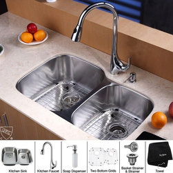 Kraus - 32 in. 60/40 Double Bowl Kitchen Sink and Faucet with Soap Dispenser - Add an elegant touch to your kitchen with unique Kraus kitchen combo
