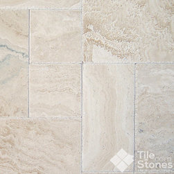 Tuscany Ivory Onyx Travertine, Versailles Pattern - This is a beige travertine piece that has ivory details as a combination. It has a smooth surface and it provides an elegant atmosphere in any area.