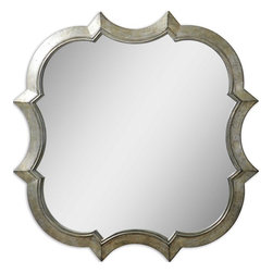 Uttermost - Farista Antique Silver Mirror - Above your fireplace and mantel, this mirror would command respect and admiration. Its curvy silhouette and lustrous, antiqued silver finish have champagne highlights and a gray glaze adding depth and mystery. If you look into it and see an apple, don't take the bite.
