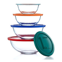 Pyrex 8-Piece Mixing Bowl Set With Colored Lids - These will store food and let you see what's inside without lifting the lid. And when not in use, they nest quite nicely.