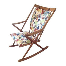 """Pre-owned Vintage Danish Teak Rocking Chair - The seller says: """"This is a family piece that I recently had recovered, however, we moved and I just don't have the space for it.  It is very solid and very comfortable and you could easily recover it with just a small amount of material if you're so inclined.  When I had it recovered, we kept the original leather and copied the stitching on the original upholstery. Has a few dark marks on back but very little wear at all.""""     This would make a great addition to any mid century modern room, especially a nursery!"""