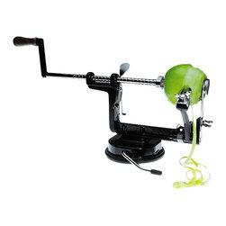 Radius Design - Apple Peeler - This apple peeler is truly unique and a lot of fun! In no time at all the apple peeler peels, cores, and cuts as many apples as you want. The suction base makes it simple to affix.