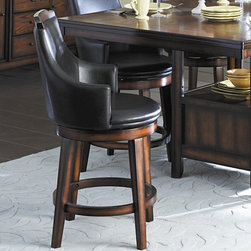 "Woodbridge Home Designs - Bayshore Swivel Counter Height Chair (Set of 2) - Transitional aesthetic meets modern lines in the casually elegant Bayshore Collection. Features: -Bayshore Collection. -Feature wood cap and legs coordinating server. -Table base comprised of four panels with a display storage shelf. -Transitional aesthetic meets modern lines. -Supporting the unique table top is a flared. -Both tables are complimented by dark brown beast vinyl chairs. Dimensions: -41.25"" H x 23"" W x 20.5"" D, 12.5 lbs."