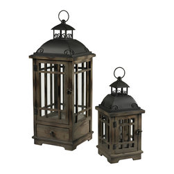 Sterling Industries - Sterling Industries 51-10111/S2 Set Of 2 Wood & Metal Lanterns - Lantern (1)