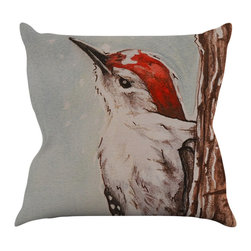 "Kess InHouse - Brittany Guarino ""Downy Woodpecker"" Throw Pillow (18"" x 18"") - Rest among the art you love. Transform your hang out room into a hip gallery, that's also comfortable. With this pillow you can create an environment that reflects your unique style. It's amazing what a throw pillow can do to complete a room. (Kess InHouse is not responsible for pillow fighting that may occur as the result of creative stimulation)."
