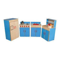 Wood Designs Classic 4 Piece Play Kitchen Set - Play kitchens are used for fantasy food preparation cooking and dishwashing. The basic lines and simple design of the Wood Designs Classic 4 Piece Play Kitchen Set offer a perfect way to indulge kids' culinary imagination. But let's face it in the classroom kitchens also are used to stack blocks stage imaginary scientific experiments and house wild animals. This kitchen can stand up to all of those alternate uses and anything else kids can conjure up. Includes light-safe kid-safe high-gloss surfaces for easy cleaning and Pinch-Me-Not™ hinges. Realistic plastic handles and a swiveling faucet add to the imaginative fun. Is it a faucet or is it the steering lever of a spaceship? Dimensions:Stove and sink: 20W x 15D x 24H inchesRefrigerator: 20W x 15D x 36H inchesHutch top: 20W x 5D x 12H inches Hutch bottom: 20W x 15D inches x 24H inches About Wood Designs Healthy Early Learning FurnitureWith more than half a decade of experience manufacturing for the school and early learning industries Denny and Debbie Gosney began Wood Designs to create youth furniture that enriches the development of young children's lives. The company uses the finest quality materials and every product is inspected before it arrives in the hands of its young customers. Wood Designs' highly skilled craftspeople use their experience to make premium safe quality furniture designed with kids in mind. In 2008 Wood Designs introduced a new line of furniture that offers the safest strongest most environmentally friendly products available for classroom use. Safety features include recessed backs and extra depth for stability rounded edges Tip-Me-Not doors that go all the way to the floor so it's more difficult for children to pull over the furniture and Pinch-Me-Not continuous hinges that help prevent pinched fingers. All Wood Designs furniture receives a triple coat of Healthy Kids Tuff-Gloss™ the company's GREENGUARD certified UV finish - tough durable stain and chemical resistant and easy to clean. Furniture is constructed with a strong (and beautiful) mortise glue and steel pin assembly method. Wood Designs assembly is many times stronger than furniture assembled with pencil-thin dowels and all pieces include a lifetime warranty.