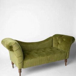 Antoinette Fainting Sofa, Verdigris - I love this green settee for an the accent color in a plum room.
