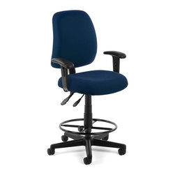 OFM - OFM Posture Task Chair with Arms and Drafting Kit in Navy - OFM - Office Chairs - 1182AADK804 - You'll always have great posture with OFM's 118-2 Posture Series Task Stool with Arms. This task stool features built-in lumbar support 7-position adjustable arms plus adjustable back depth and height pitch and gas-lift seat height adjustment. High-quality fabric is rated to exceed 150000 double rubs and the seat back is fully upholstered. The wheeled 5-star base adds stability and includes adjustable foot ring. Weight capacity up to 250 lbs.