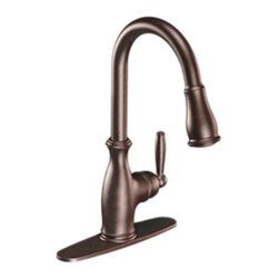 Moen - Moen 7185ORB Single Handle High Arc Pulldown Kitchen Faucet - The Brantford series features a traditional, clean style to your home, giving it a beautiful look and timeless appeal.