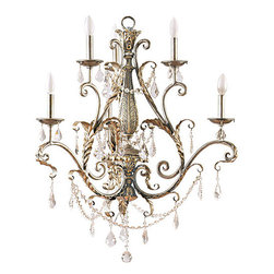 Yosemite Home Decor - Swag Caribbean Gold Six-Light Chandelier without Shade - - UL-rated  - Caribbean gold frame with faceted crystals  - Built to last metal with glass construction  - Can be installed in your dining area, romantize a bedroom, and function room  - Overall dimensions: 30 H x 32 W x 32 D  - 1 year warranty on parts - see packaging for details  - Bulbs not included Yosemite Home Decor - SWJ433
