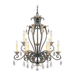 """Savoy House - Savoy House Hensley 32"""" Wide Chandelier - Savoy House's Hensley Collection is sophisticated yet elegant and this curvaceous chandelier is no exception. Finished in a rich Fiesta Bronze and complemented perfectly by clear crystal accents the look is completed by cream drip candle covers. By Savoy House. Fiesta Bronze finish. Clear crystal accents. Cream drip candle covers. Takes nine 60 watt candelabra bulbs (not included). 32"""" wide. 38"""" high. 6"""" wide canopy. Includes 10 feet of chain and 12 feet of wire. Hang weight of 54 lbs.  Fiesta Bronze finish.   Clear crystal accents.   Cream drip candle covers.   Takes nine 60 watt candelabra bulbs (not included).   32"""" wide.   38"""" high.   6"""" wide canopy.   Includes 10 feet of chain and 12 feet of wire.   Hang weight of 54 lbs."""