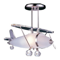 Elk Lighting - Elk Lighting 5051/1 Airplane Semi-Flush Ceiling Fixture from the Novelty Collect - Elk Lighting 5051/1 Airplane Semi-Flush Ceiling Fixture