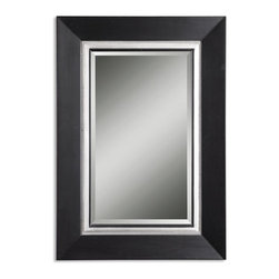"Uttermost - Whitmore Vanity Matte Black Rectangular Mirror - This wood frame has a matte black finish with a silver leaf inner liner and a gray glaze. Mirror is beveled. Frame Dimensions: 29.875""W X 39.875""H X 1.25""D; Mirror Dimensions: 18""W X 28""H; Finish: Matte Black with a Silver Leaf Inner Liner and a Gray Glaze; Material: Wood, Gesso; Beveled: Yes; Shape: Rectangular; Weight: 25 lbs; Included: Brackets, Ready to Hang Vertically or Horizontally; Shipping: Free Shipping via UPS 7 - 10 Business Days"