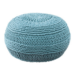 """Rizzy Home - Contemporary Aqua Pouf (14""""x20"""") - Add a contemporary statement to any space with this versatile pouf. It can be used as a extra seat, a footrest or a fun accent piece."""