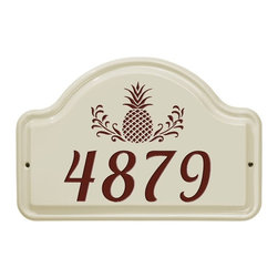 White Hall Products - White Hall Pineapple Ceramic Arch Address Plaque - 2630RD - Shop for Address Numbers Letters and Plaques from Hayneedle.com! The White Hall Pineapple Ceramic Arch Address Plaque is the perfect way to present your house number while welcoming guests. This ceramic plaque features a pineapple graphic long known as a symbol for hospitality. Its graphic and single line numerals are available in a variety of colors to match your decor. Easy to install and easier to enjoy this plaque is hand cast and designed to last for years.About Whitehall ProductsWhitehall Products are known as the world s leading manufacturer of weathervanes and is equally as respected for their high quality personalized home wall plaques. They also offer a wide variety of mailboxes garden accents hose holders birdbaths bird feeders sundials and more. Each offers an original design and is hand cast for the highest quality product available. Based in Montague Michigan Whitehall has been producing these popular products for over 65 years.