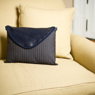 Navy Blue Striped Clutch Pillow - The clutch purse is an original Jypsea Leathergoods design that pays homage to my roots as a handbag designer. The flap lifts and unsnaps just like a real clutch bag. The body of the pillow can be unzipped to reveal the removable pillow insert. The color and materials in this particular pillow is inspired by menswear fashion.