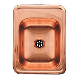 Whitehaus Collection - Whitehaus WH691CBL-PCO 12 1/2? Rectangular Copper Sink with A Smooth Surfac - Rectangular copper drop-in entertainment/prep sink with a smooth surface