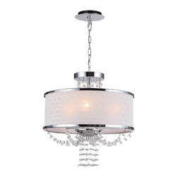 "Crystorama - Allure Chandelier/Ceiling Mount - Polished Chrome convertible Chandelier. Takes 3 - 60 w/c bulbs. Chain: 72"" Wire: 120"""