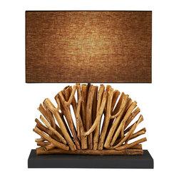 Scandinavian Design - Eucalyptus Branch lamp - Fan table lamp is made of Natural Eucalyptus Branch that is crafted uniquely in the shape of a Fan.
