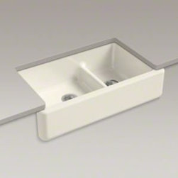 """Kohler - Kohler K-6427-96 Biscuit Whitehaven Whitehaven 36"""" Double Basin - Product Features:  Double basin sink with a 60/40 split provides increased versatility for any task. Covered under Kohler's limited lifetime warranty Constructed of enameled cast-iron which combines strength, durability and insulation benefits Undermount installation type provides optimal counter space while giving your kitchen a stylish look Center drain location provides optimal drainage capability All hardware needed for installation included  Product Technologies / Benefits:  Smart Divide:  The basin divider is set to a lower height than perimeter of the sink; you gain the convenience of a single basin sink completely filled, without losing the functionality of a double basin sink. The lower divider also gives more room for working with larger pots and pans providing more access for filling and cleaning. Enameled Cast-Iron:  Kohler Enameled Cast-Iron combines the strength, durability, and insulation benefits of cast-iron with the scratch, chip, and burn resistance of a baked, powder coat finish and comes with an exceptional Lifetime Limited Warranty. When these materials are combined it gives the sink or tub the strength to last a lifetime of use. Kohler Enameled Cast-Iron is also available in a wide variety of specialty colors allowing you to truly customize your home. Self Trimming:  An Apron Front design that overlaps the """"Apron"""" down over a portion of existing cabinetry. This allows the installation of an Apron Front sink with only minor countertop modification.  Product Specifications:  Height: 9-5/8"""" (measured from the bottom of sink to the top of the rim) Overall Width: 21-9/16"""" (measured from the back outer rim to the front outer rim) Overall Length: 35-11/16&rdq"""