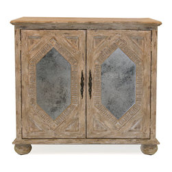 Diamond Inset Chest - The Diamond Inset Chest has a stylish look of weight and notability. Its large bun feet and the substantial molding above and below the chest's cupboard doors contribute to this old-world impression, as does the wonderful whitewashed wood finish. Set into the doors, however, are reflective diamonds of mirror that open this colonial-style chest to greater light. Carved molding of radiating parallel lines surrounds the diamond insets, integrating them with the inviting overall look.