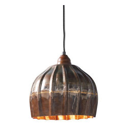 Grandin Road - Vintage Ribbed Metal Pendant Light - Rustic and ribbed pendant light. Shade crafted from metal that's artfully painted to resemble oxidized copper. No two are identical. Coordinating ceiling cap included. Equipped with a black cloth-covered 6-ft. cord ending in a plug. Outfit your rathskeller or hang one above your favorite reading spot; rustic, painted details make the Vintage Metal Ribbed pendant a distinctive way to see any space in a new light. Each artfully fluted shade is crafted from metal that's painted to resemble oxidized copper. With a design inspired by authentic antiques – its form and finish blend perfectly with traditional and contemporary styles alike.  .  .  .  .  . Professional hard-wire installation recommended . UL listed . 60-watt bulb maximum .