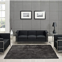 LexMod - Leather Le Corbusier-Style LC2 Armchair, Loveseat, and Sofa in Black - In a modern marriage of leather and steel, this furniture set will allow you to lounge in style. The armchair, love seat, and sofa will provide alluring structure to any room. This is contemporary furniture design at its very best — comfort and sophistication as one.