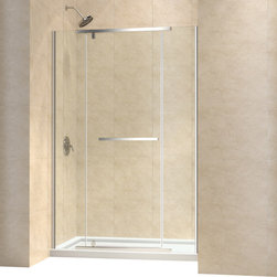 "DreamLine - DreamLine Vitreo-X Frameless Pivot Shower Door and SlimLine 32"" by - This smart kit from DreamLine delivers a beautiful solution for a stunning bathroom renovation with a VITREO-X shower door and coordinating SlimLine shower base. The VITREO-X operates with an elegant pivot mechanism, while premium 3/8 in. thick tempered glass delivers a rich look. Smart wall profile allow for installation adjustability for out-of-plumb walls. The SlimLine shower base completes the picture with sleek low profile design. Bring on the style with the impressive look of this winning combination. Items included: Vitreo-X Shower Door and 32 in. x 60 in. Single Threshold Shower BaseOverall kit dimensions: 32 in. D x 60 in. W x 74 3/4 in. HVitreo-X Shower Door:,  58 - 58 3/4 in. W x 72 in. H ,  3/8 (10 mm) thick clear tempered glass,  Chrome or Brushed Nickel hardware finish,  Frameless glass design,  Width installation adjustability: 58 - 58 3/4 in.,  Out-of-plumb installation adjustability: Up to 3/8 in. per side,  Pivot shower door with full length magnetic door latch ,  Anodized aluminum wall profiles,  Precise width measurement of finished opening required,  Door opening: 24 5/8 in.,  Stationary panel: Two 14 1/2 in. panels ,  Reversible for right or left door opening installation,  Material: Tempered Glass, Aluminum,  Tempered glass ANSI certified32 in. x 60 in. Single Threshold Shower Base:,  High quality scratch and stain resistant acrylic,  Slip-resistant textured floor for safe showering,  Integrated tile flange for easy installation and waterproofing,  Fiberglass reinforcement for durability,  cUPC certified,  Drain not included,  Center, right, left drain configurationsProduct Warranty:,  Shower Door: Limited 5 (five) year manufacturer warranty ,  Shower Base: Limited lifetime manufacturer warranty"