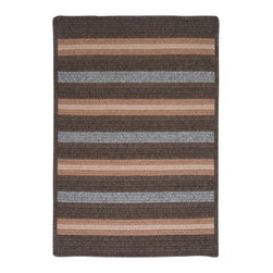 Colonial Mills, Inc. - Sedona, Gray Rug, Sample Swatch - Subtle stripes and square corners add modern elegance to this reversible braided rug. The soft polyester and wool blend will make you want to go shoeless all year long.