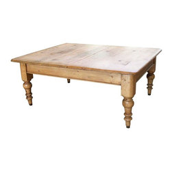 Pre-owned Antique Pine Farmhouse Coffee Table - This table is so versatile. It's perfect for that rustic farmhouse look that's so popular right now. Or, it would also be great in a room with a coastal or casual look as well. It's a generous size and features rounded softer edges that make it fabulous for a family. The top two pieces of the table are antique. The base of the table is new and has been refurbished. The table is sturdy and in good condition. There is some slight splitting on the tabletop which is common for a table of this age.