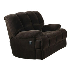 "Acme - Ahearn Chocolate Champion Plush Fabric Upholstered Standard Motion Recliner - Ahearn chocolate champion plush fabric upholstered standard motion recliner chair with overstuffed seats and arms. This recliner features an champion plush fabric upholstery with a release latch on the side of the recliner, this is a manual recliner you need to push the footrest back to lock it in. Recliner measures 43"" x 40"" x 39"" H. Some assembly may be required."