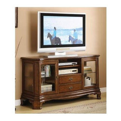 Winners Only - Yorkshire TV Cabinet - Two drawers and doors. Open shelves. Brown cherry finish. 58 in. W x 19 in. D x 32 in. H