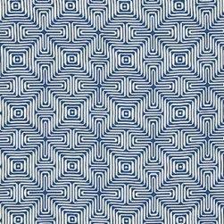 Schumacher - Amazing Maze Fabric, Ocean - 2 Yard Minimum Order