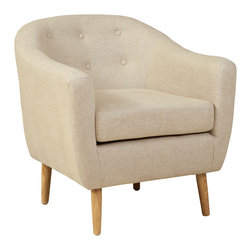 Great Deal Furniture - Mariana Fabric Club Chair, Beige - The Mariana Club Chair is a great piece for any room in your home. The rounded shape gives off a retro vibe, while the cushion design provides all of the comfort benefits of a club chair. With its innovative look and attention to detail, this chair is a perfect blend of form and function, whether placed in your living room, office or bedroom.
