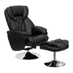 Flash Furniture - Transitional Black Leather Recliner And Ottoman With Chrome Base - This overstuffed leather recliner will make an excellent choice in your traditional or contemporary home or office setting. This set features super thick padding throughout the chair and ottoman as well as chrome exposed bases that provide a contemporary feel. The durable leather upholstery allows for easy cleaning and regular care.