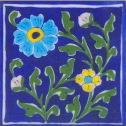 "Knobco - Tiles 4x4"", Blue bordered w/ yellow, turquoise flowers & green leaves - Blue bordered tile with yellow, turquoise flowers & green leaves from Jaipur, India. Unique, hand painted tiles for your kitchen or other tiling project. Tile is 4x4"" in size."