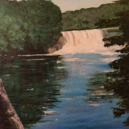 Tahquamenon Falls (Original) By Rebecca Mcmall - This original acrylic painting was inspired by a visit to Tahquamenon Falls, MI.  It is painted on premium hand stretched canvas.  Painted in 1985.