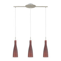 EGLO - Eglo 200044A 3 Light Pendant -Matte Nickel/Brownish Red Glass - EGLO 200044A 3 Light Pendant -Matte Nickel/Brownish red Glass