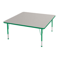 "Ecr4kids - Ecr4Kids Adjustable Activity Table - Square 48"" X 48"" Elr-14117-Ggn-Tb Green - Table tops feature stain-resistant and easy to clean laminate on both sides. Adjustable legs available in 3 different size ranges: Standard (19""-30""), Toddler (15""-23""), Chunky (15""-24""). Specify edge banding and leg color. Specify leg type."