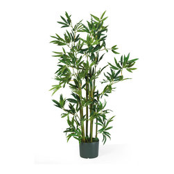 Nearly Natural - 4' Bamboo Silk Plant - Throughout recorded history, bamboo has inspired artisans, philosophers, healers, and even warriors.  Now it inspires you!  In response to its popularity, our bamboo family has grown to include this 4' bamboo silk plant that contains nine stalks and 540 leaves.  It comes pre-arranged in a black plastic pot.  Display this silk tree by itself, or combine it with our other silk bamboo plants and trees to create an indoor bamboo garden.