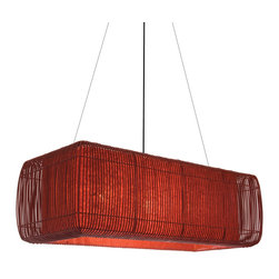 Hive - Hive Geisha Pillow Hanging Lamp - Rectangularsuspension lamp with shade constructed of colored rattan vines tied on a wire frame on a powdercoated metal frame. Diffuser is made of handmade paper-laminated mylar. Medium lamp requirestwo E26/E27 75W incandescent bulbs. Large lamp requires three E26/E27 75W incandescent bulbs. UL Listed. Manufactured by Hive. Price includes shipping to the USA.
